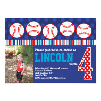 Baseball Birthday Invitation (4th Birthday)