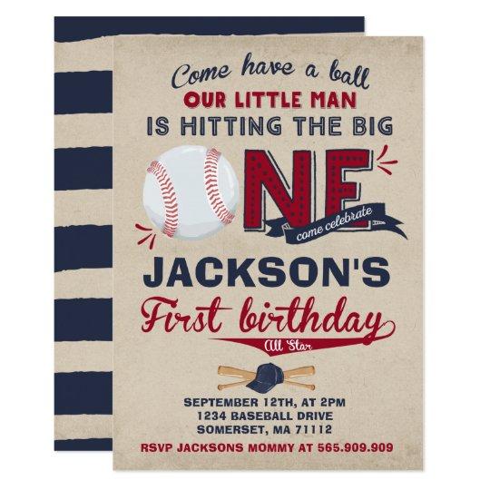 Baseball Birthday Invitation Baseball 1st Birthday Zazzlecom