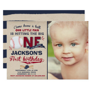 Baseball Birthday Invitation 1st