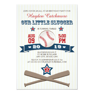 BASEBALL BIRTHDAY INVITATION FOR CHILDREN