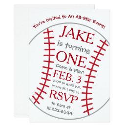 Baseball Birthday Invite- Special Bday Invitation