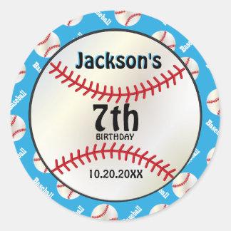 Baseball Birthday on Baby Blue | Personalize Classic Round Sticker