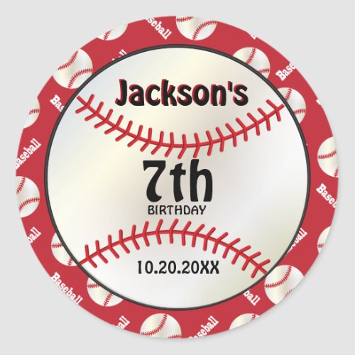 Baseball Birthday on Dark Red   Personalize Classic Round Sticker