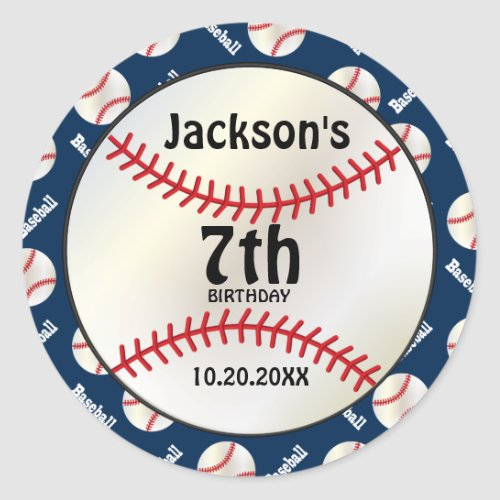Baseball Birthday on DIY Color  Personalize Classic Round Sticker