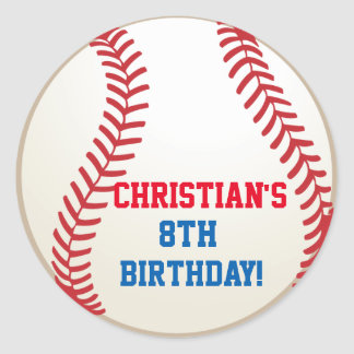 Baseball Birthday Party Favor Stickers