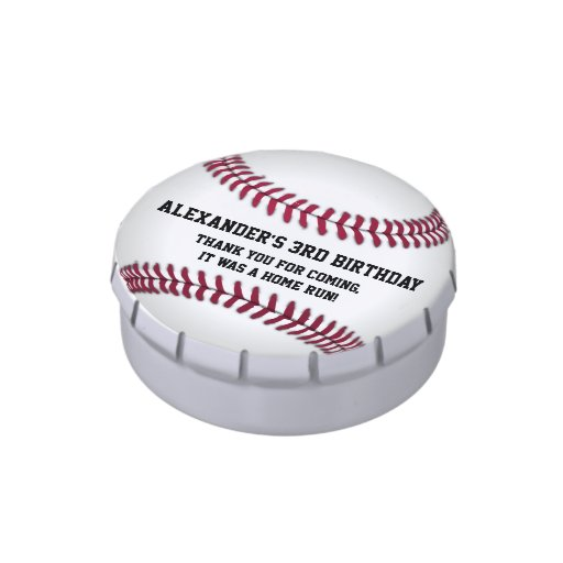 Baseball Birthday Party Favors Candy Tins