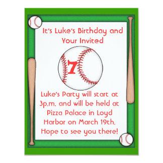 Baseball Birthday Party Invitation Boys & Girls