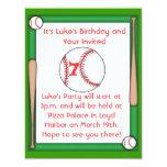 "Baseball Birthday Party Invitation Boys & Girls 4.25"" X 5.5"" Invitation Card"