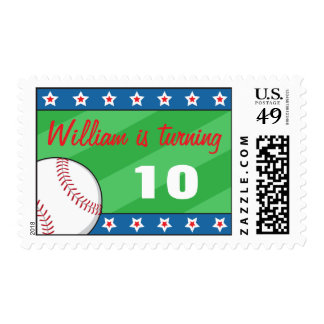 Baseball birthday party invitation postage stamps