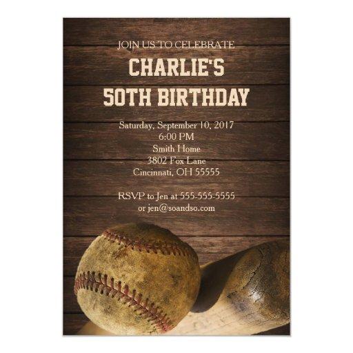 Vintage Baseball Birthday Invitations: Baseball Birthday Party Invitation Rustic Vintage