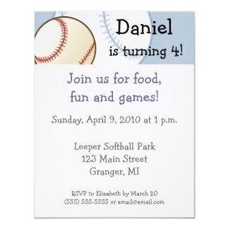 "Baseball Birthday Party Invitations  4.25"" x 5.5"""