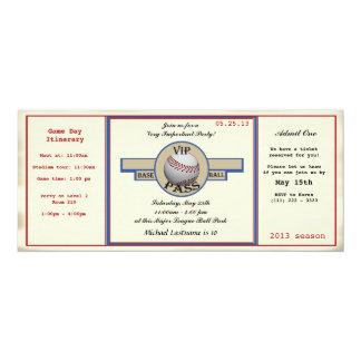 Baseball Birthday Party Pass 4x9.25 Paper Invitation Card