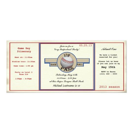 Baseball Birthday Party Pass Card
