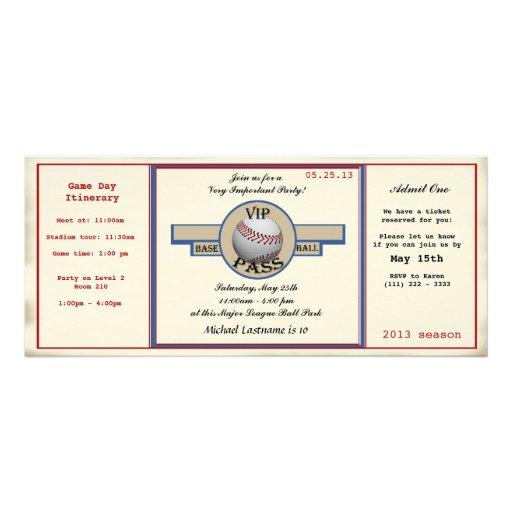 Baseball Birthday Party Pass Personalized Invites