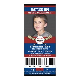 "Baseball Birthday Photo Template 4"" X 9.25"" Invitation Card"