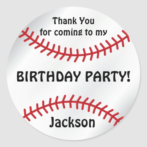 Baseball Birthday   Thank You Classic Round Sticker