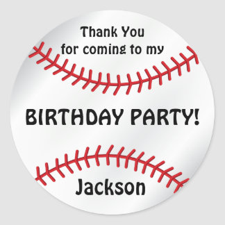 Baseball Birthday  | Thank You Classic Round Sticker
