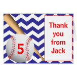 Baseball Birthday Thank You Note Card