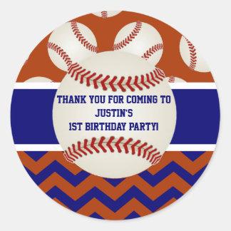 Baseball Birthday Thank You Stickers
