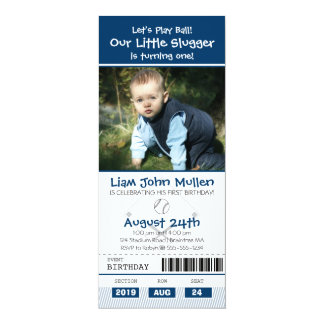 Baseball Birthday Ticket 4x9.25 Paper Invitation Card
