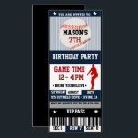"Baseball Birthday Ticket Invitation<br><div class=""desc"">Baseball Birthday Ticket Invitation in navy blue,  red,  and black. Text font style and color can be personalized.</div>"