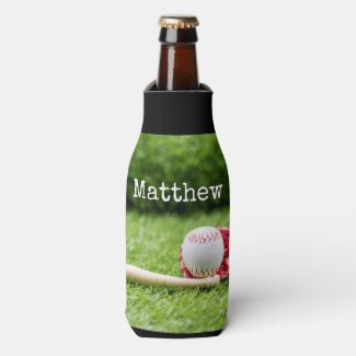 Baseball Birthday with ball on green grass Bottle Cooler