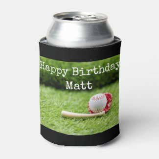 Baseball Birthday with ball on green grass Can Cooler