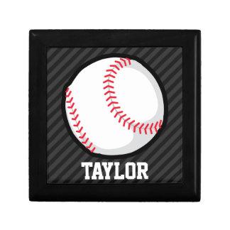 Baseball; Black and Dark Gray Stripes Gift Boxes