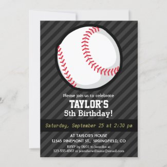 Baseball; Black and Dark Gray Stripes Invitation