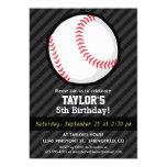 Baseball; Black and Dark Gray Stripes 5x7 Paper Invitation Card