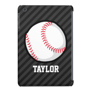 Baseball; Black and Dark Gray Stripes iPad Mini Cases