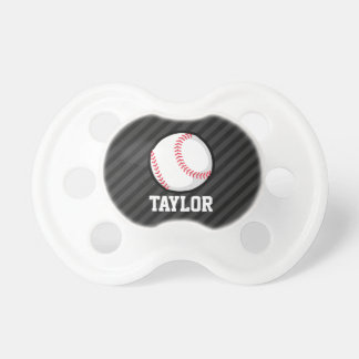Baseball; Black and Dark Gray Stripes Pacifier