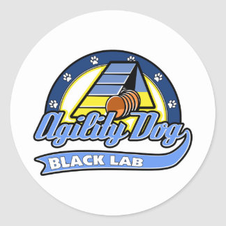 Baseball Black Lab Agility Classic Round Sticker
