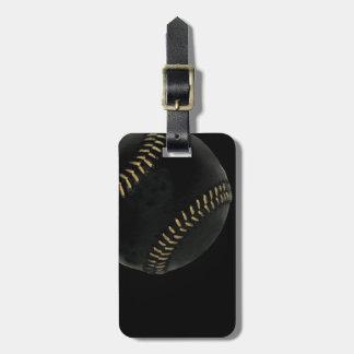 baseball black luggage tag