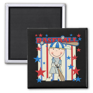 BASEBALL Blond Boy Tshirts and Gifts 2 Inch Square Magnet