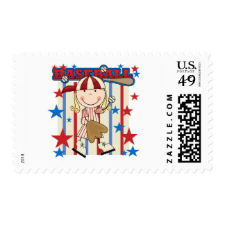 BASEBALL - Blond Girl T-shirts and Gifts Postage Stamp
