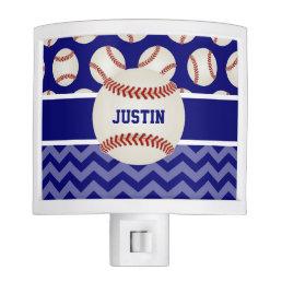 Baseball Blue Chevron Personalized Night Light