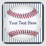 Baseball Blue Pin Stripes Personalized Square Stickers