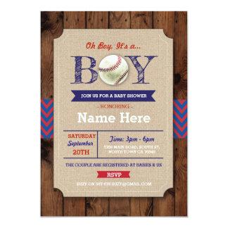 Baseball Blue Wood Boy Baby Shower Sports Invite