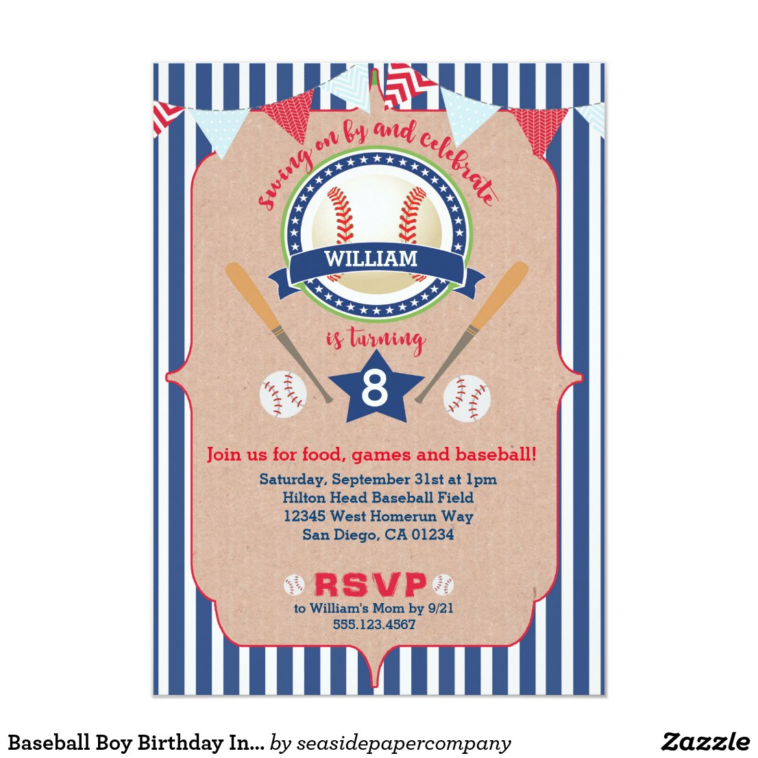 Baseball Boy Birthday Invitation Invite Navy & Red