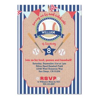 Baseball Boy Birthday Invitation Invite Navy & Red