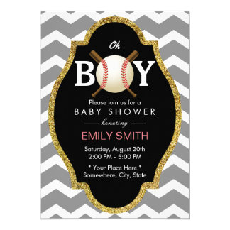 Baseball Boy Chevron Stripes Baby Shower Sports Card