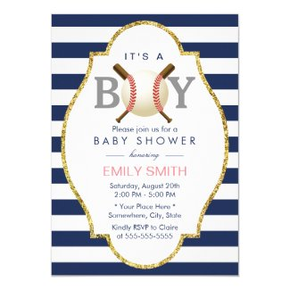 Baseball Boy Modern Navy Blue Stripes Baby Shower Card