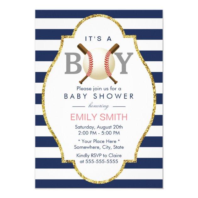 baseball boy modern navy blue stripes baby shower card   zazzle, Baby shower invitations