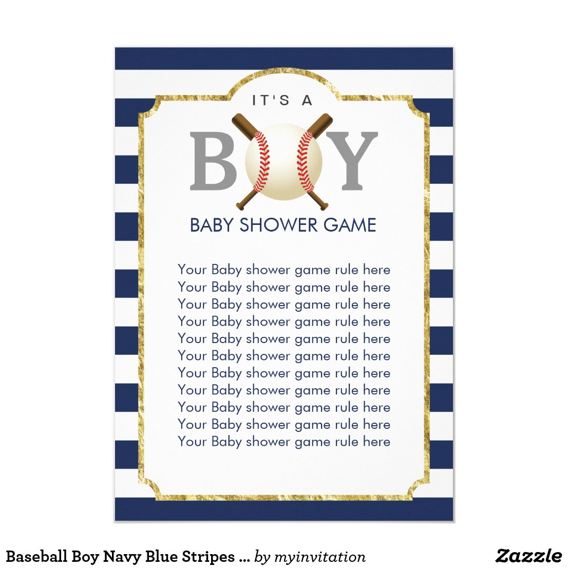 Baseball Boy Navy Blue Stripes Baby Shower Games Card