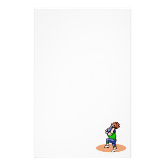 Baseball boy pitch customized stationery