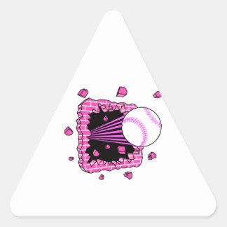 baseball breaking through brick wal pink girls triangle sticker