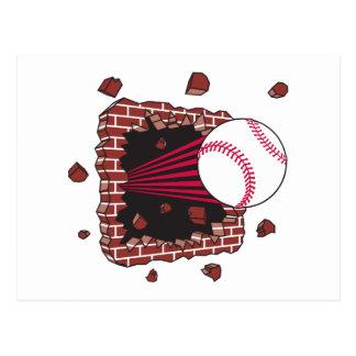 baseball breaking through brick wall postcard
