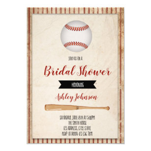 baseball bridal shower party invitation