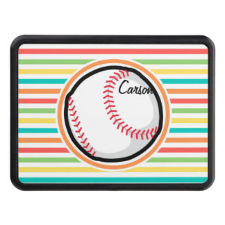 Baseball; Bright Rainbow Stripes Trailer Hitch Cover